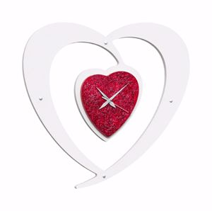 Picture of PINTDECOR CUORE ROSSO WALL CLOCK BICOLOR RED AND WHITE CLOCK  HAND-DECORATED WITH  EMBOSSED RED RESIN