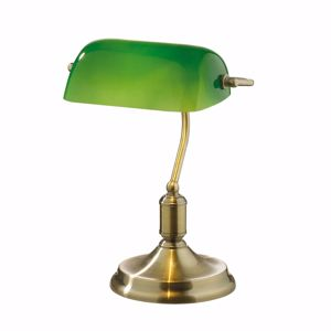 Picture of IDEAL LUX LAWYER MINISTERIAL OFFICE LAMP BRONZE WITH GREEN GLASS