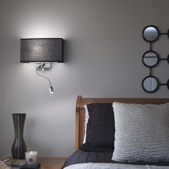 Picture of IDEAL LUX HOTEL AP2 BLACK FABRIC WALL LAMP WITH READING LED LIGHT