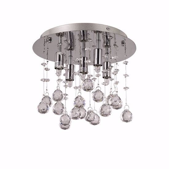 Picture of IDEAL LUX MOONLIGHT CEILING LAMP CRYSTAL SPHERE PL5 CHROME