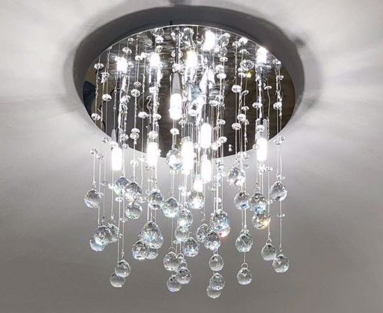 Picture of IDEAL LUX MOONLIGHT CEILING LAMP CRYSTAL SPHERE PL8 CHROME