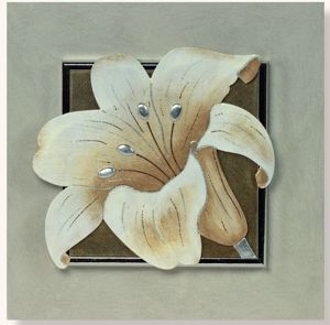 Picture of ARTITALIA BROWN FLOWER II FLOREAL PAINTING 35X35 SILVER LEAF DETAILS
