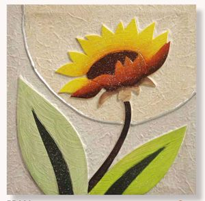 Picture of ARTITALIA SUNFLOWER II WALL ART 35X35 SHADES OF YELLOW EMBOSSED HAND DECORATED CANVAS