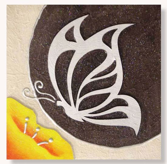 Picture of ARTITALIA WALL ART BUTTERFLY 35X35 EMBOSSED SILVER DETAILS ON SHADES OF BROWN