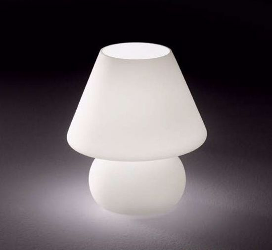 Picture of IDEAL LUX PRATO TL1 BIG WHITE GLASS TABLE LAMP