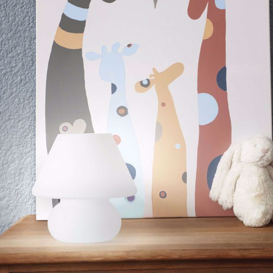 Picture of WHITE GLASS BEDSIDE LAMP SMALL SIZE FOR BEDROOM