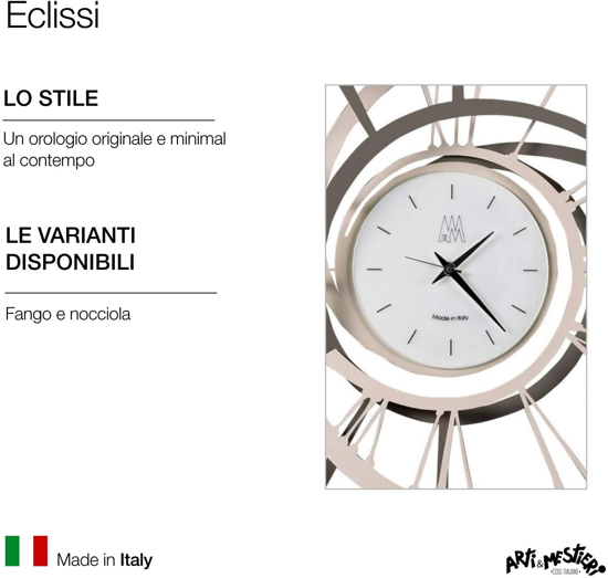 Picture of ARTI E MESTIERI ECLISSI WALL CLOCK MUD AND HAZEL ECLIPSE