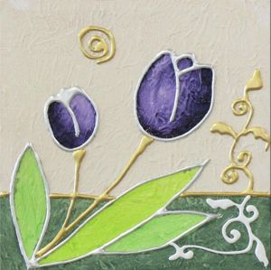 Picture of ARTITALIA WALL ART PURPLE TULIPS 35X35 HAND DECORATED WITH EMBOSSED SILVER FOIL DETAILS