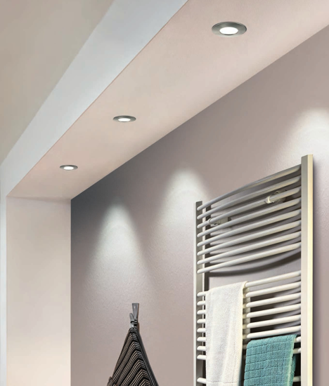 Picture of LED RECESSED SPOTLIGHT FOR BATHROOM FALSE CEILING IP44 6W 3000K NICKEL FINISH