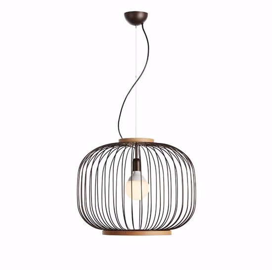 Picture of GIBAS CHAPLIN SUSPENSION Ø48CM WENGE STEEL AND NATURAL WOOD