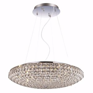 Picture of IDEAL LUX KING PENDANT LAMP WITH CRYSTALS SP12 12LIGHTS CHROME