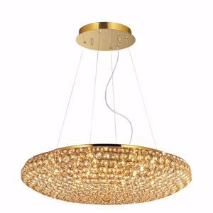 Picture of IDEAL LUX KING PENDANT LAMP WITH CRYSTALS SP12 12LIGHTS GOLD