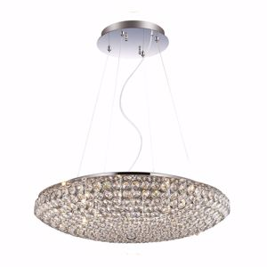 Picture of IDEAL LUX KING PENDANT LAMP WITH CRYSTALS SP7 7LIGHTS CHROME