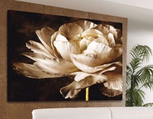 Picture of MANIE WHITE FLOWER BLOOMING CANVAS ON FAUX LEATHER 120X90
