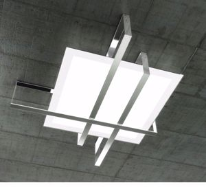 Picture of TOP LIGHT CROSS CEILING LAMP 99CM CHROME METAL AND GLASS