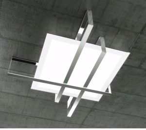 Picture of TOP LIGHT CROSS CEILING LAMP 71CM CHROME METAL AND GLASS