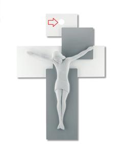 Picture of CROCIFISSO DA PARETE 17X12 LEGNO GRIGIO CRISTO BIANCO MODERNO