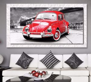 Picture of WALL ARTWORK VOLKSWAGEN BEETLE CANVAS PRINT WITH WHITE FRAME 140X70