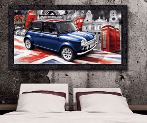 Picture of WALL ARTWORK MINI COOPER CANVAS PRINT WITH BLACK FRAME 140X70