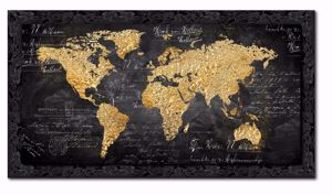Picture of WALL ARTWORK WORLD MAP PRINT ON CANVAS WITH SHINY BLACK FRAME 140X70