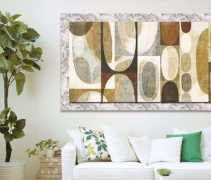 Picture of MANIE WALL ARTWORK ABSTRACT PRINT ON CANVAS 140X70 SILVER FRAME
